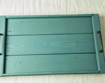 Handmade Rustic Tray - Reclaimed Pallet Wood - Beaumont Blue