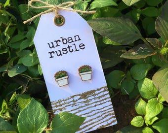 Succulent wooden stud earrings - succulent earrings - succulent jewelry - cactus earrings - cactus wooden stud earrings - cactus jewelry
