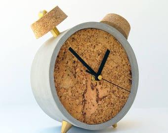 Concrete Clock, Table Clock, Desk Clock, Contemporary Clock, Cork Decor, Round Clock, Office Gift, Modern Clock, Gift For Him
