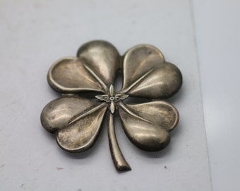 Vintage Sterling Silver Lucky 4 Leaf Clover Pin Brooch