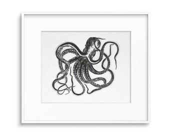 Octopus Print, Octopus Art, Nautical Wall Decor, Drawing Print, Sea Life  Wall Art, Printable Art, Octopus, Art Prints, Wall Decor, Art
