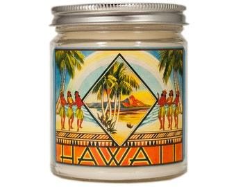 Hawaii Candle, Hawaii Gift, Custom Scented Candle, Container Candle, Soy Candle, Vintage Hawaii, Candle Gift