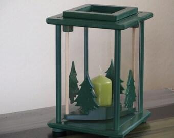 Green Lantern, wooden, with fir trees, height 27 cm