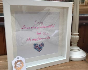 Personalised Foil Print 'Every Love Story' Box Frame. Family Gift, New Home Gift Idea.