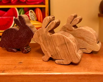 Hand carved wooden Easter Bunny - made from reclaimed red wine barrel top - Easter Rabbit