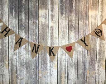 Thank You Banner, Burlap Wedding Banner, Thank You Sign, Wedding Photo Prop