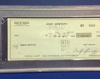 Andy Griffith signed Cancelled Check Slabbed PSA/DNA # 83770509