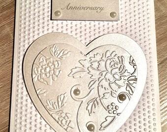 Pearl Wedding Anniversary card. Anniversary. 30th Anniversary card. Hand made card. Unique pearl card. 30th Wedding. Happy Anniversary card.