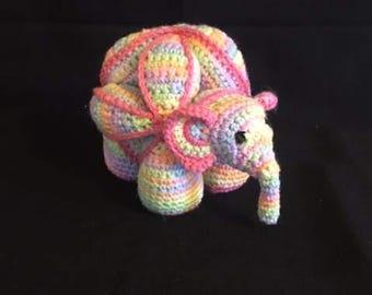 Hand Crocheted Elephant Amamani, Elephant Puzzle Ball, Elephant Stuffed Toy