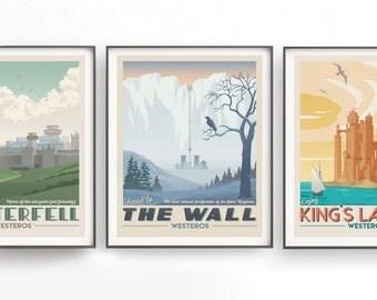 Game of Thrones set. Retro travel poster. Movie tv show poster. Winterfell illustration. Moon of my life. Daenerys Targaryen. Westeros art
