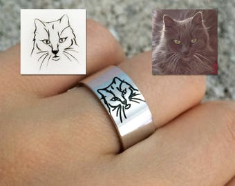 Sterling Silver Custom Cat Portrait Band Ring, Dog Portrait Ring, Animal Portrait Ring, Cat Lovers Ring, Pet Memorial Ring, Mothers Day Gift