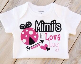Mimi's Lil' Love Bug-Baby Girl Onesie-Custom Onesie-Grammy-Nana-Gigi-Grandma-Grandparent-Papa-Grandpa-Love Bug