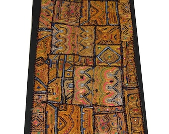 Vintage Indian Wall Hanging Table Cloth Curtain Cloth Decorative Panel  Black Fine Jari Patch Table Runner