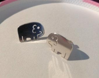 Handcut cute elephant silver earrings