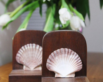 Vintage Shell Bookends