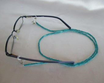 Necklace Bracelet 3-in-1 Emerald dark turquoise hand made length 78 cm