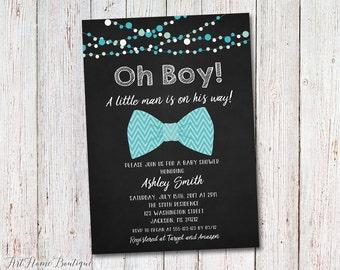 Little Man Baby Shower invitation, Bow Tie Baby Shower Invitation, Baby Shower Printable, #BS16