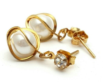 Miniature Round Gold Tone Drop Earrings Clear Rhinestone Vintage from the 90s Cute girl's gift Intricate Circle Mini Tiny Small