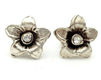 Miniature Silver tone Flower and Clear Rhinestone Stud Earrings Vintage from the 90s Studs Tiny Mini Small Cute gift for girl