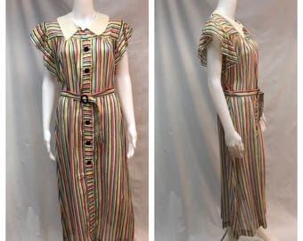 Fabulous 1930's Multi-Stripe Voile Afternoon Dress - Never Worn