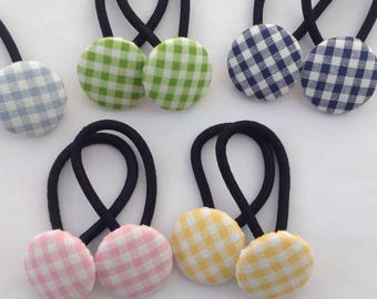 2 handmade gingham Fabric Button Ponytail holders. Hair Accessories. Cotton. Girls. Gifts. School