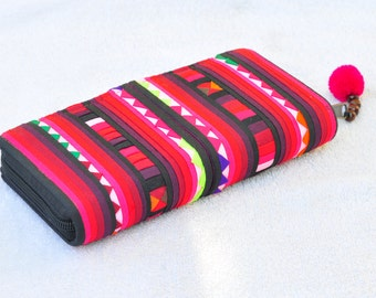 Hmong Purse / Hill tribe Bag / Handmade Wallet /Colorful Bag/Colorful Hmong Patchwork Wallet Purse Clutch