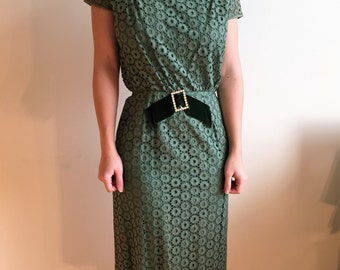 Vintage 1950's/1960's Pat Hartly Green Cotton Circle Eyelet Dress with Velvet Bow