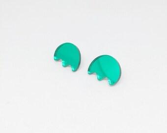 Matisse Green Mirror Stud Earrings