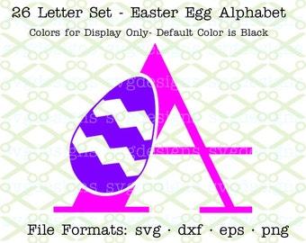 SVG Letters, Svg Dxf Eps & Png. SVG Easter, Svg Alphabet, Easter Egg Monogram Letters for Cricut, Silhouette; Svg Files, Svg Designs