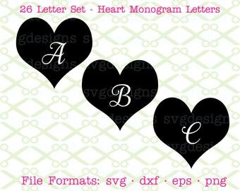 Heart Monogram SVG Letters, Svg Dxf, Eps, Png, Cursive Monogram, Valentine Monogram Heart Letters for Cricut & Silhouette, Digital Cut FIles