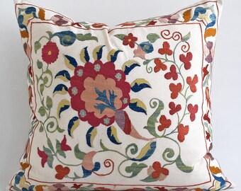 SALE 30% - Suzani pillow suzani pillow cover off white suzani pillow suzani pillows designer pillow throw pillows sofa pillows pillow sham