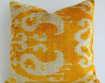 Handwoven Yellow Ikat Pillow Yellow Velvet Pillow Decorative Throw Pillows Couch Pillow Yellow Orange Pillow Throw Pillow Bohemian Pillow