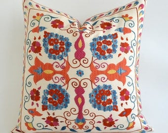 SALE ! - suzani cushion vintage pillow sofa pillow embroidered suzani pillow suzani pillow beige blue red floral pillow Throw Accent Pillow