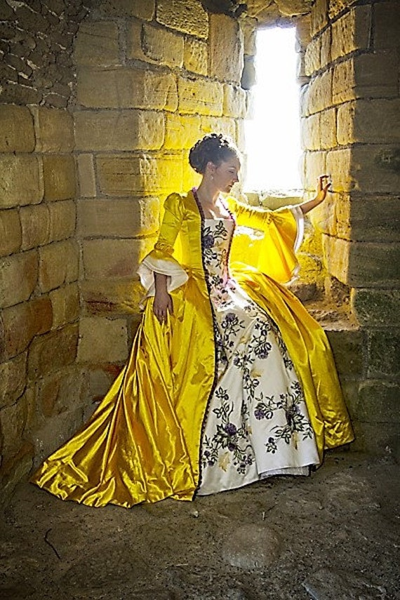 Custom Made Outlander Claire Fraser 18th Century Yellow Satin Floral Dress