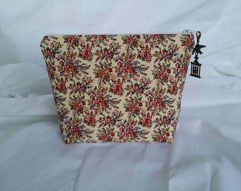 Cosmetic Bag / Flower Cosmetic Bag / Makeup Bag / Zippered Pouch / Cosmetic Case / Makeup Case / Toiletry Bag / Bag