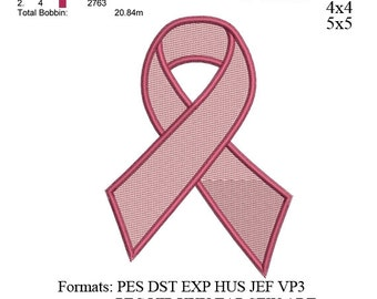 Cancer Ribbon Embroidery Design  - Breast Cancer Symbol Filled Stitch Embroidery - Machine embroidery no 482 ... 3 sizes