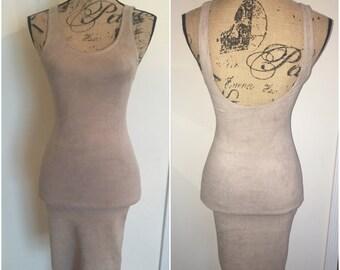 Light Gray Suede Slip Dress