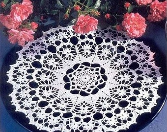 Doily 34 cm crocheted cotton, crochet doily, gift for women, for her, white doilie