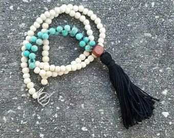 Mala Style Tassel Diffuser Necklace With Hand Knotted Turquoise Dyed Howlite and Wood Beads. Aromatherapy Necklace. Tassel Necklace. Boho.