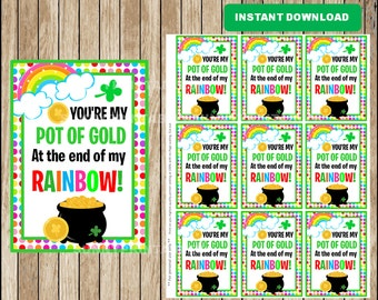 St. Patrick's Day cards;  You're my pot of gold at the end of my rainbow cards,  St Patrick's Day Tags instant download