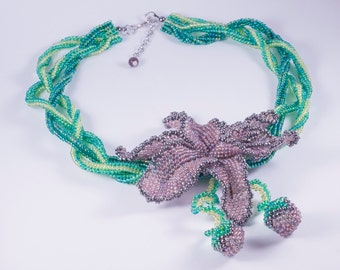 Lilac Orchid. Handmade seed beads beaded exquisite necklace - 17.5""