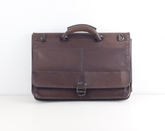 "Leather laptop bag, Tropical Leather made in Columbia leather attache, chestnut brown college bag, work bag, 15.6"" laptop"