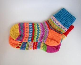 Hand knitted socks gift for friend norwegian socks WOOL SOCKS gift Women's Warm men socks Colorful knitted Winter socks Colorful socks