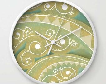 Beige Spiral Wall Clock