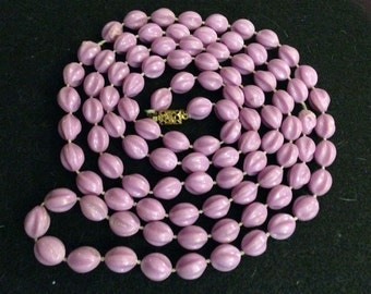 Vintage Lilac Beaded Necklace