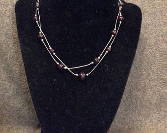 Delicate Double Strand Chain Necklace with Purple Catseye Glass Beads