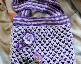 Crochet Purple Shoulder Bag
