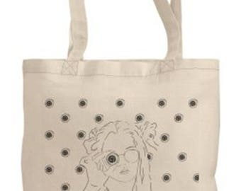 Eyeball tote bag with original artwork by Brandy Mars