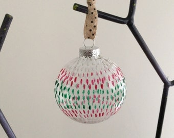 Hand Painted Oval Polka Dot Sun Catcher or Holiday Ornament-Green and Red Glass-Easter or Mother's Day Gift