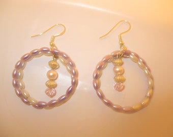 Pink and Purple Pearl Earrings